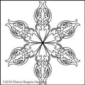Digital Quilting Design Feathered Fleur Motif 8 by Sherry Rogers-Harrison.