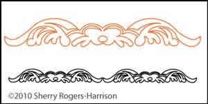 Digital Quilting Design Feathered Fleur Sash Motif 5 by Sherry Rogers-Harrison.