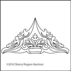 Digital Quilting Design Feathered Fleur Triangle 1 by Sherry Rogers-Harrison.