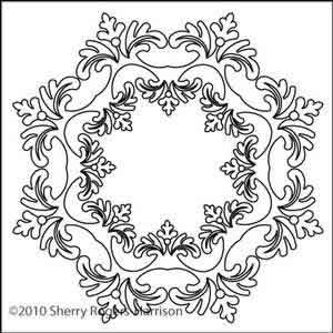 Digital Quilting Design Feathered Fleur Wreath by Sherry Rogers-Harrison.