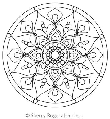 Mini Mandala by Sherry Rogers-Harrison. This image demonstrates how this computerized pattern will stitch out once loaded on your robotic quilting system. A full page pdf is included with the design download.