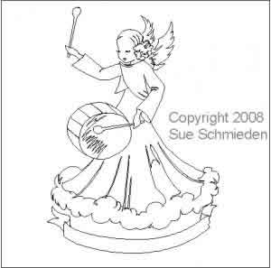 Digital Quilting Design Musical Drum Angel by Sue Schmieden.