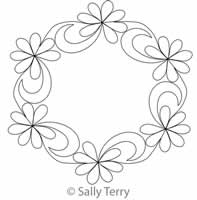 Digital Quilting Design Eastern Garden Wreath 1 by Sally Terry.
