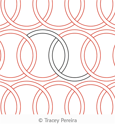 Simple Celtic Circles Panto by Tracey Pereira. This image demonstrates how this computerized pattern will stitch out once loaded on your robotic quilting system. A full page pdf is included with the design download.