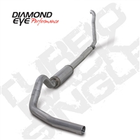 "DIAMOND EYE 1994-1997 FORD 7.3L 4"" ALUMINIZED W/ MUFFLER - PERFORMANCE DIESEL EXHAUST KIT - TURBO BACK SINGLE"