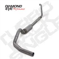 "DIAMOND EYE 1994-1997 FORD 7.3L 4"" STAINLESS W/ MUFFLER - PERFORMANCE DIESEL EXHAUST KIT - TURBO BACK SINGLE"