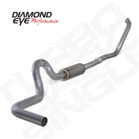 "DIAMOND EYE 2003-2007 6.0L 4"" ALUMINIZED NO MUFFLER TURBO BACK SINGLE F450 CAB&CHASSIS"