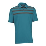 Ashworth EZ-TEC2 Performance Double Knit Chest Print Polo Enamel Blue/Dark Grey