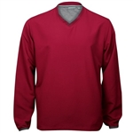 Ashworth Performance Solid V-Neck Wind Pullover Burgundy Red