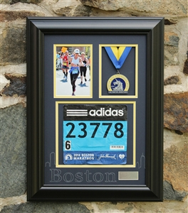 Boston Marathon Race Photo and Finishing Medal Display Frame