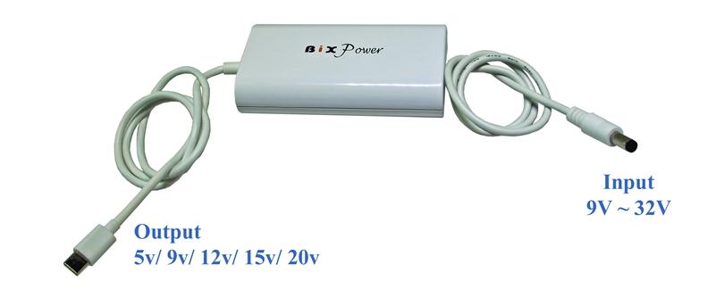USB Type C Power Converter with 5V, 9V, 12V, 15V & 20V Power Delivery - PD60