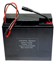 12.8V 20Ah Lithium Iron Phosphate (LiFePO4)  Portable Rechargeable Battery with Charger - LF1220