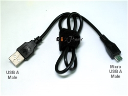 USB A Male to Micro USB Male DC Power Cable  - X2