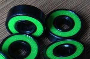 16 Roller Skate Black Bearings with Bronze Cage and Green Seals 8x22x7 mm