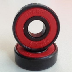16 Roller Skate Black Bearings with Bronze Cage and red Seals 8x22x7 mm