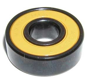 16 Roller Skate Black Bearings with Bronze Cage and yellow Seals 8x22x7 mm