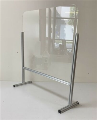 "Free Standing Sneeze Guard 32""x 31""inch Acrylic Shield with Fancy Aluminum Frame"