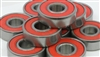 100 pcs 608-2RS Red Ball Bearing