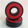 Set of 8 Skateboard Black Bearings with Bronze Cage and red Seals 8x22x7mm