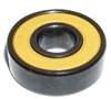Set of 8 Skateboard Black Bearings with Bronze Cage and yellow Seals 8x22x7mm