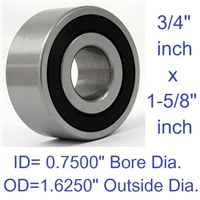 "Radial Ball Bearing, Double Sealed, 0.7500"" Bore Dia., 1.6250"" Outside Dia."