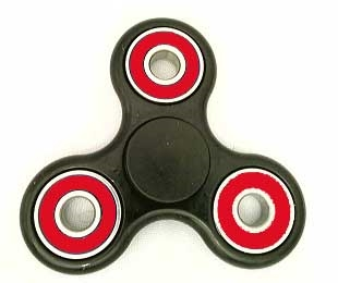 Fidget Hand SpinnersToy with Center Stainless Bearing, 2 caps and 3 outer red Bearings