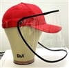 Red Baseball Cap+Face Shield/Visor/Protective Sneeze Guard