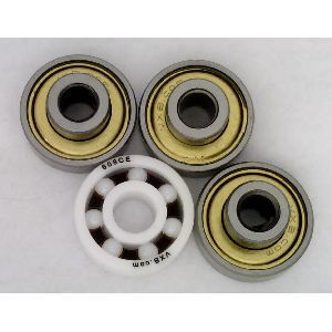 Tri Fidget Spinner Bearing Kit : Full Ceramic ZrO2 Center Bearing and 3 Extended Shielded Bearings