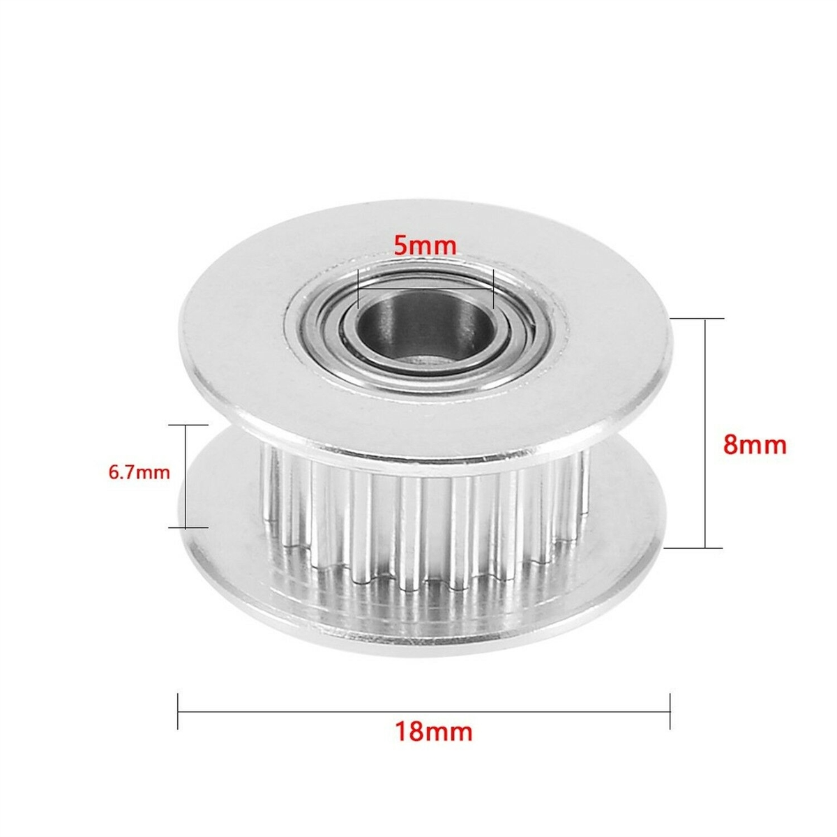 New Aluminum GT2 20T 5mm Bore Timing Belt Idler Pulley Flange W//Ball Bearing