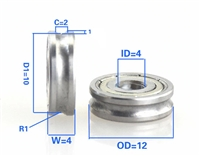 4mm Bore Bearing with 12mm Pulley U Groove Track Roller Bearing 4x12x4mm
