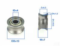 4mm Bore Bearing with 13mm Pulley U Groove Track Roller Bearing 4x13x7mm