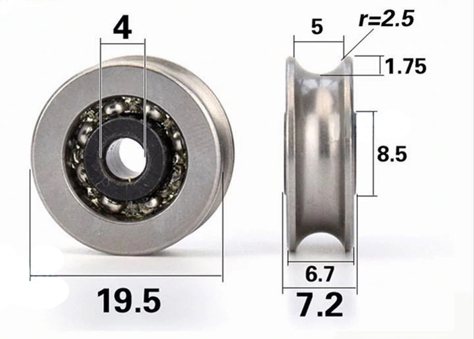 50mm U Groove Track Roller Wheel Caster Rigid Top Plate for Machine Tool