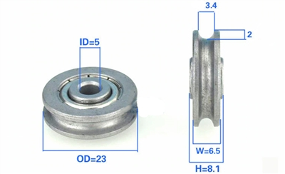 5mm Bore Bearing with 23mm Pulley U Groove Track Roller Bearing 5x23x6.5mm