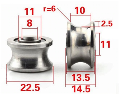 8mm Bore Bearing with 22.5mm Pulley U Groove Track Roller Bearing 8x22.5x13.5mm