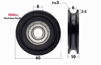 8mm Bore Bearing with OD: 40mm Plastic Tire U Groove for Sliding Doors
