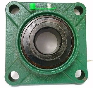 "1/2"" Bearing UCF201-8 Black Oxide Plated Insert + Square Flanged Cast Housing Mounted Bearing"