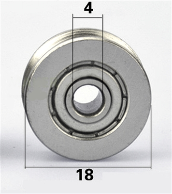 4mm Bore Bearing with 18mm Shielded  Pulley U Groove Track Roller Bearing 4x18x7mm