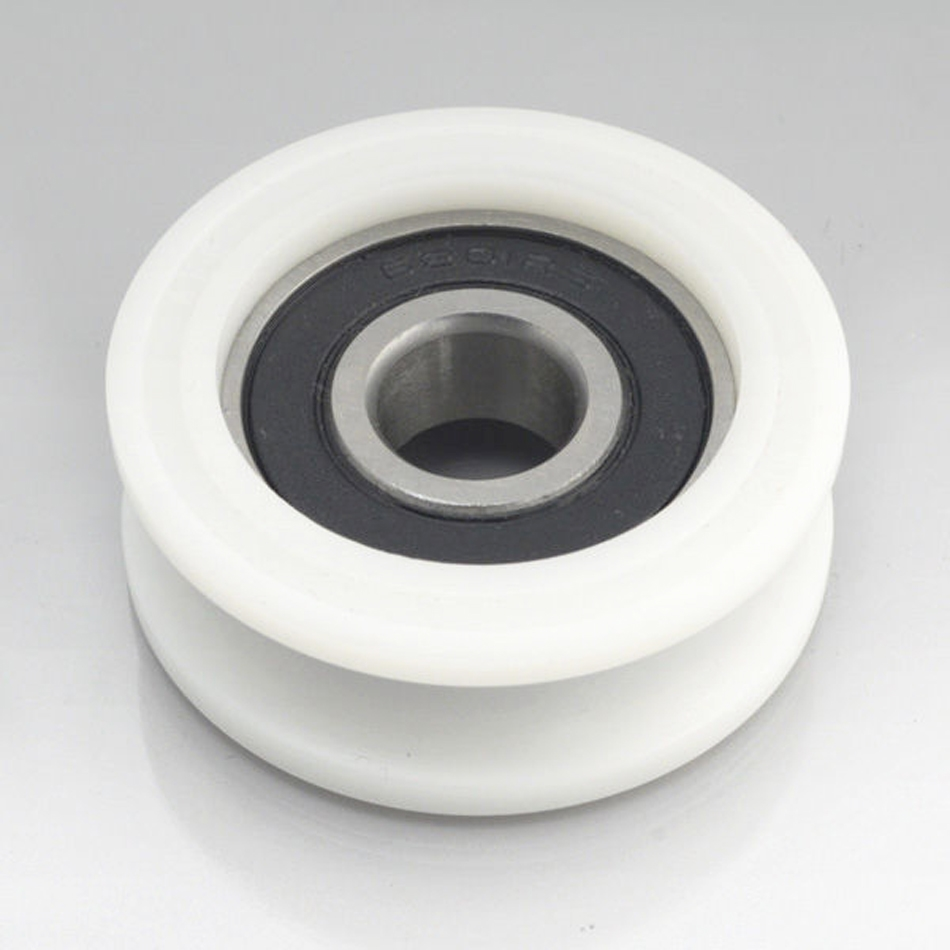 5mm Bore Bearing with 21mm Round Nylon Pulley U Groove Track Roller Bearing  5x21x6mm