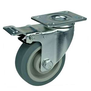 "5"" Inch Caster Wheel 220 pounds Swivel and Upper Brake Thermoplastic Rubber Top Plate"