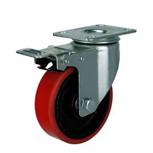 "5"" Inch Caster Wheel 331 pounds Swivel and Upper Brake Iron  and  Polyurethane Top Plate"