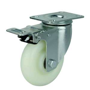 "5"" Inch Caster Wheel 220 pounds Swivel and Upper Brake Polypropylene Top Plate"