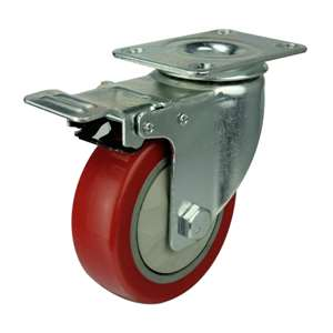 "5"" Inch Caster Wheel 176 pounds Swivel and Upper Brake Polyvinyl Chloride Top Plate"