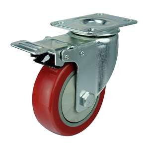 "5"" Inch Caster Wheel 220 pounds Swivel and Upper Brake Polyvinyl Chloride Top Plate"