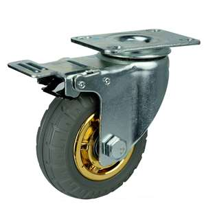 "5"" Inch Caster Wheel 176 pounds Swivel and Upper Brake Rubber Top Plate"