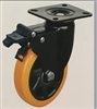 "4"" Inch Caster Wheel 551 pounds Swivel and Upper Brake Polyurethane  and  Polypropylene Top Plate"