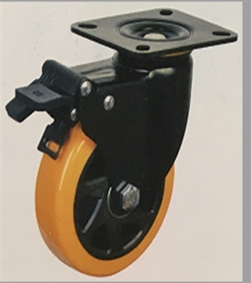 "6"" Inch Caster Wheel 772 pounds Swivel and Upper Brake Polyurethane  and  Polypropylene Top Plate"