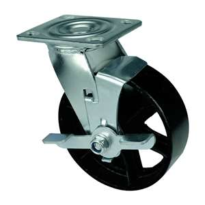 "4"" Inch Caster Wheel 441 pounds Swivel and Center Brake Black Cast iron Top Plate"
