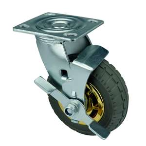 "4"" Inch Caster Wheel 441 pounds Swivel and Center Brake Polypropylene core  and  Rubber Top Plate"