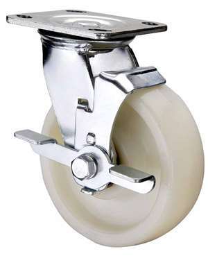 "5"" Inch Caster Wheel 1543 pounds Side Brake Polyamide (Nylon) Top Plate"