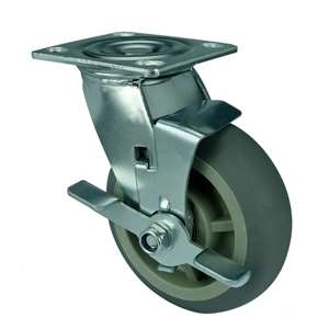 "5"" Inch Caster Wheel 507 pounds Swivel and Center Brake Polypropylene core  and  Thermoplastic Rubber Top Plate"